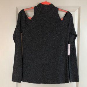 Open Shoulder Mock Turtleneck Sweater (Tags On)